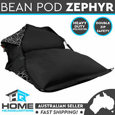 Beanbag Beanpod Cover Indoor/Outdoor Zephyr Geometric Black Soft Chair Lounge