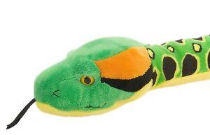 Plüschtier Schlange Anakonda Kuscheltier grün gelb, Stofftier Snakesss ca. 137cm