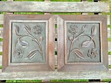 More details for a pair of antique carved wooden oak panels with floral motif