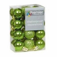 Pack of 24 Green shatterproof Christmas tree Baubles Decorations Small 3cm Size