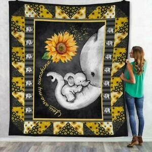 Sunflower Elephant You Are My Sunshine Sherpa Blanket