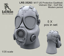 Live Resin 1/35 US Protective M17 Gas Masks in Vietnam War, Gulf War (5pcs)