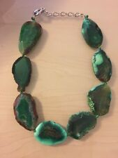 NWOT Green Slab Stone Statement Necklace Anthropologie