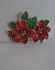 Kirks Folly Poinsettia Passion Pin In Gold Tone