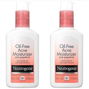 2X NEUTROGENA OIL FREE ACNE MOISTURIZER PINK GRAPEFRUIT 4oz EXP 02/2021+