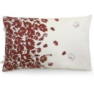 2 Brand New DKNY WILDFLOWER FIELD Standard/Queen Pillow Shams Ivory w/Red