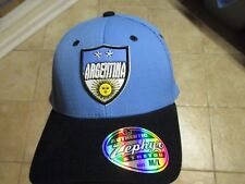 """ARGENTINA """"ZEPHYR"""" FLEX FIT HAT (MED/LRG) NW/TAGS $22 BLACK & BLUE RAISED LOGO"""