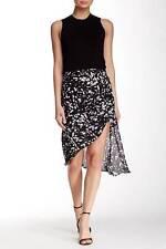 NWT Haute Hippie $425 Printed Silk Asymmetrical Skirt  Black Swan SZ 2