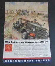 Original 1942 Print Ad International Trucks  Marine Corps 3715 WWII Art