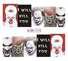Horror Film nail art (Water Decals) Pennywise Nail Art Joker Nail Art Decals