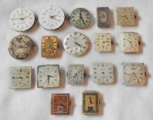 Vintage Lot of 17 Men's Mechanical Wristwatch Movements Parts/Repair/Restoration