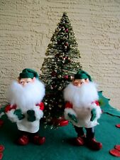 2 LRG PLASTIC ELF/GNOMES POINT EARS & HUGE BEARDS POSEABLE ARMS XMAS DECORATION
