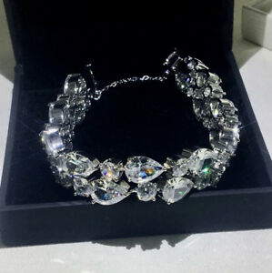 "14k White Gold GF Bracelet made w Swarovski Crystal Simulated Diamond Stone 6.5"""