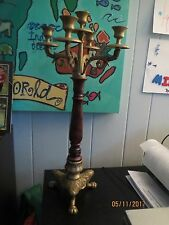 "Vintage 22"" Tall 5 candle Candelabra Brass w Claw Feet"