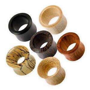 Flesh Tunnel Holz Ohr Plug verschiedene Holzarten Piercing in den Größen 4-50 mm