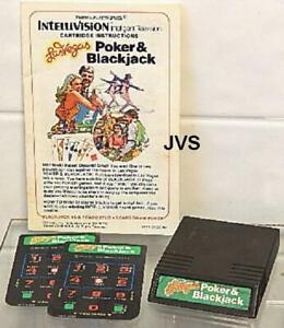 Mattel Intellivision Poker Cartridge, Manual and Overlays Sears Tele-Games