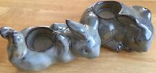 RABBIT TEA LIGHT HOLDERS BY PARTY LITE 2 PORCELAIN RABBITS APPROX 15cm X 7.5cm