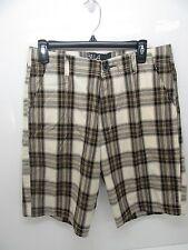 Men's Billabong Cotton Blend Plaid Walk Shorts Brown Size 32