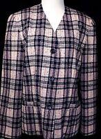 Womens PENDLETON Wool Plaid Collarless Blazer Jacket Made USA Size 12 Pink Blue