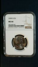 1999 D SUSAN B ANTHONY DOLLAR NGC MS66 GEM $1 Coin Auction Starts At 99 Cents!