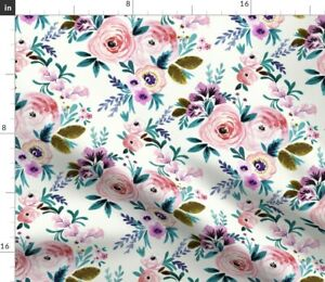 Floral Romantic Roses Baby Girl Watercolor Spoonflower Fabric by the Yard