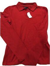 Nwt Girls Size Xl 12 Gapkids School Uniform Pique Polo Shirt Red Long Sleeves