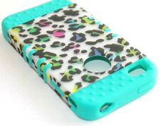 iPHONE 4 4G 4S - HARD & SOFT RUBBER HYBRID ARMOR CASE TURQUOISE CHEETAH LEOPARD
