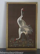 Magnifique tableau tissé main 1960 indochine