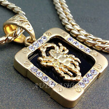 Pendant Necklace Hiphop Gift Idea 56 High-Q 18k Gold Plated Mens Square Scorpion