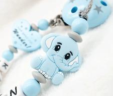 Schnullerkette mit Namen Junge ? Silikon Elefant Bisschen Mama Papa ? blau grau