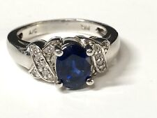 14K white Gold Ring With Diamonds and Oval Sapphire
