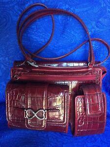 Brighton Cross-body Shoulder Bag Purse handbag Organizer Red Burgundy Leather