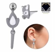 MACKRI Animal Earrings Sasha Cat Stainless Steel Stud Earrings GREY
