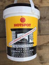 1 x 750g TUB HOTSPOT FLUE FREE CHIMNEY CLEANER REMOVES TAR WOODBURNING FIRES