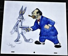 "'RACKETEER RABBIT' Virgil Ross Hand Signed Drawing ""BUGS BUNNY & ROCKY"""