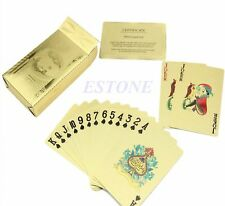 Shiny new 24K Gold Foil Plated Poker Playing Cards Deck US 100 Dollars w RED box