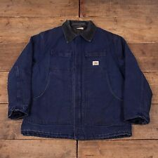 "Mens Vintage Carhartt Quilt Lined Workwear Chore Jacket Blue XXL 52"" R5142"