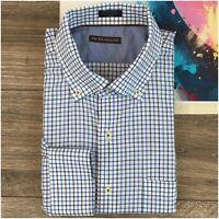 Peter Millar Men's Size XL Shirt Plaid Button Front Long Sleeve Linen Cotton