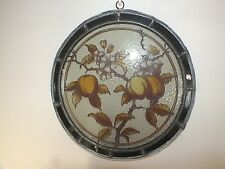 Rare 19th C A/Nouveau Lead Framed Stained Glass Wall Plaque of Fruit & Blossom