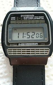 Uhren  Vintage Dugena LCD Quartz Alarm Chronograph Sammler -Rarität