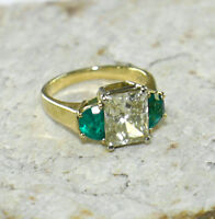 3.4 ct Fancy Color Diamond GIA & 0.81 tcw Emerald 3-Stone Ring size 6 18K gold