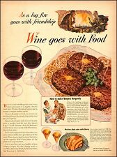 1942 vintage beverage AD WINE goes with food! recipe for Burgundy Burgers 060517