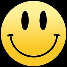 Smiley Face 95mm circular vinyl Laptop sticker retro acid dance house decal car