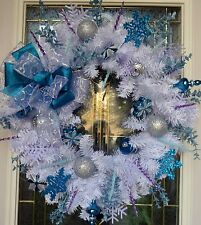 """Christmas Floral Door WREATH DIVA """"Frozen!"""" CLEARANCE PRICED!! Final Reduction"""