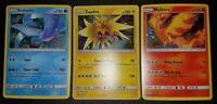 3x Legendary Birds Articuno Zapdos Moltres HOLO SET Pokemon SM145 SM144 SM143 MP
