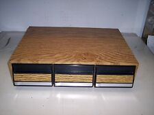 WOODEN TABLETOP STORAGE CASE  FOR CASSETTE TAPES<<HOLDS 42 TAPES  #25
