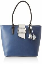 Borsa Shopping Bag Guess Donna Woman Eco Pelle Leather Blu Fiori bianchi Fibbia