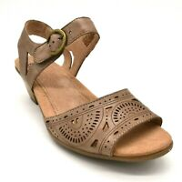 Earth Womens Carson Westport Leather Wedge Slingback Sandals Khaki Size 8.5W NEW