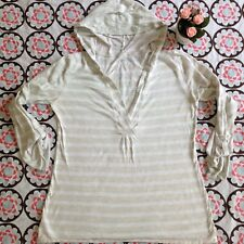 Ann Taylor LOFT Small Hooded Tab Sleeve Knit Shirt Deep V-neck Tan Striped B1