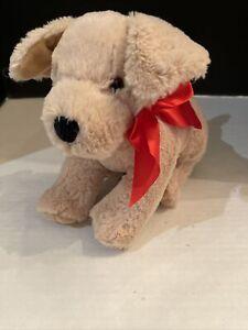 "MELISSA & DOUG Sunny Yellow Lab Puppy Dog Plush Stuffed Animal 11"" Red Bow K9"